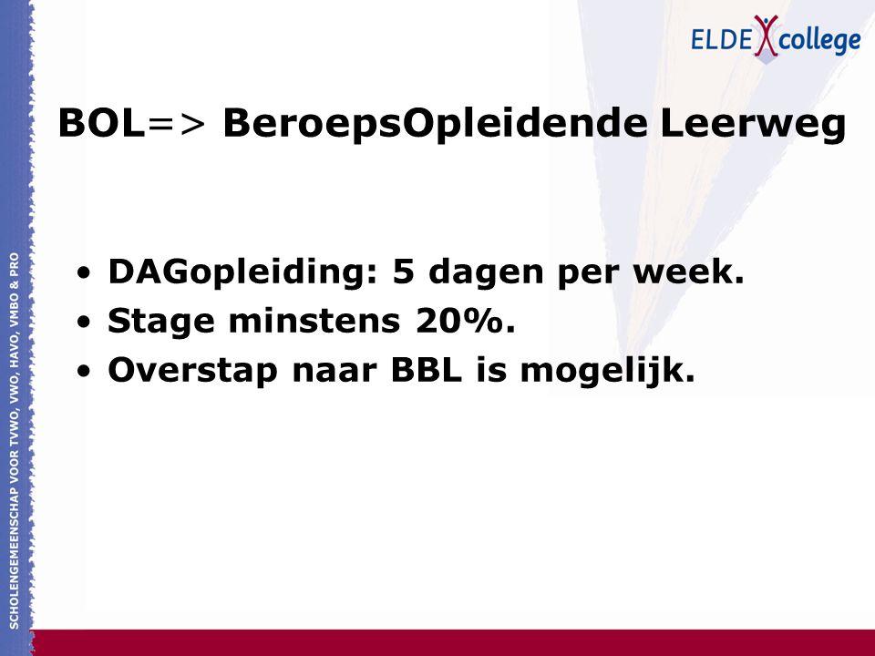 BOL=> BeroepsOpleidende Leerweg DAGopleiding: 5 dagen per week. Stage minstens 20%. Overstap naar BBL is mogelijk.