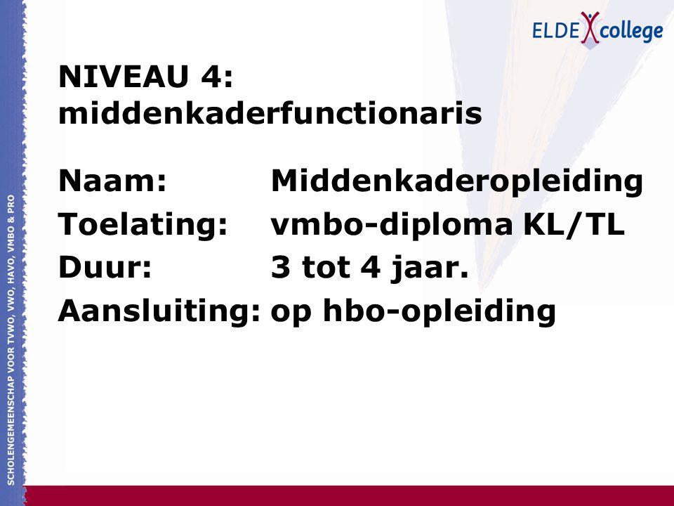 NIVEAU 4: middenkaderfunctionaris Naam: Middenkaderopleiding Toelating: vmbo-diploma KL/TL Duur: 3 tot 4 jaar. Aansluiting: op hbo-opleiding