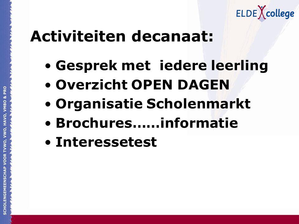 Activiteiten decanaat: Gesprek met iedere leerling Overzicht OPEN DAGEN Organisatie Scholenmarkt Brochures……informatie Interessetest
