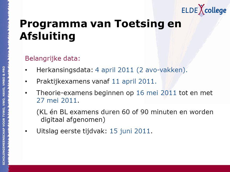 Belangrijke data: Herkansingsdata: 4 april 2011 (2 avo-vakken). Praktijkexamens vanaf 11 april 2011. Theorie-examens beginnen op 16 mei 2011 tot en me