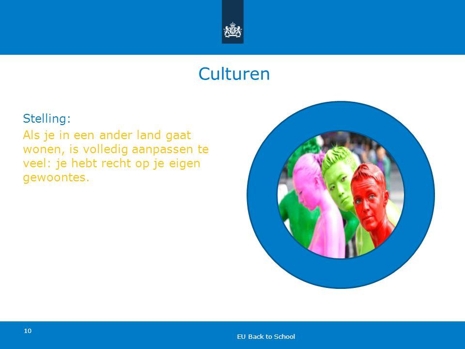 Culturen Stelling: Als je in een ander land gaat wonen, is volledig aanpassen te veel: je hebt recht op je eigen gewoontes.
