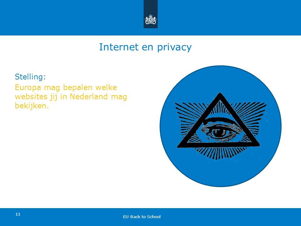 Internet en privacy Stelling: Europa mag bepalen welke websites jij in Nederland mag bekijken.