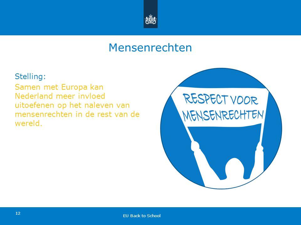 Mensenrechten Stelling: Samen met Europa kan Nederland meer invloed uitoefenen op het naleven van mensenrechten in de rest van de wereld.