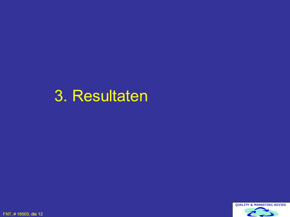 QUALITY & MARKETING ADVIES FNT, # 18503, dia 12 3. Resultaten