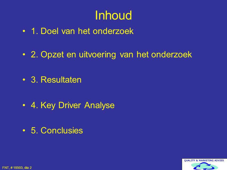 FNT, # 18503, dia 2 1. Doel van het onderzoek 2. Opzet en uitvoering van het onderzoek 3. Resultaten 4. Key Driver Analyse 5. Conclusies Inhoud