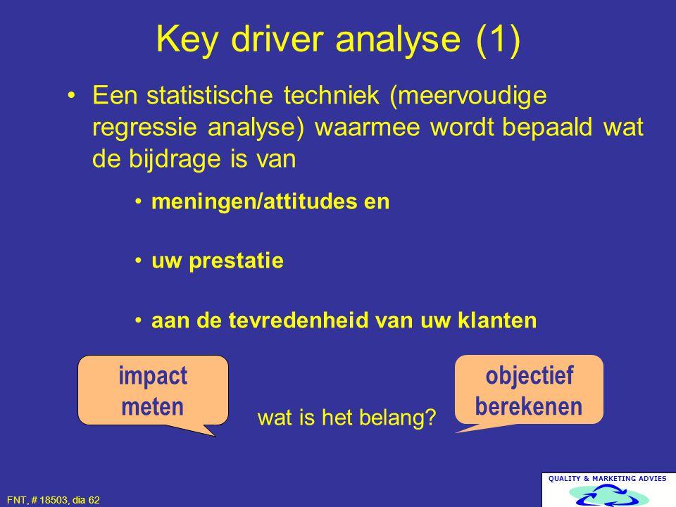 QUALITY & MARKETING ADVIES FNT, # 18503, dia 62 Een statistische techniek (meervoudige regressie analyse) waarmee wordt bepaald wat de bijdrage is van