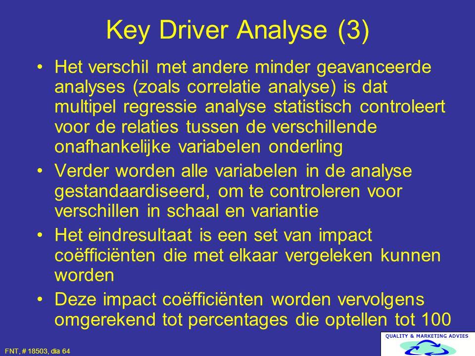QUALITY & MARKETING ADVIES FNT, # 18503, dia 64 Het verschil met andere minder geavanceerde analyses (zoals correlatie analyse) is dat multipel regres