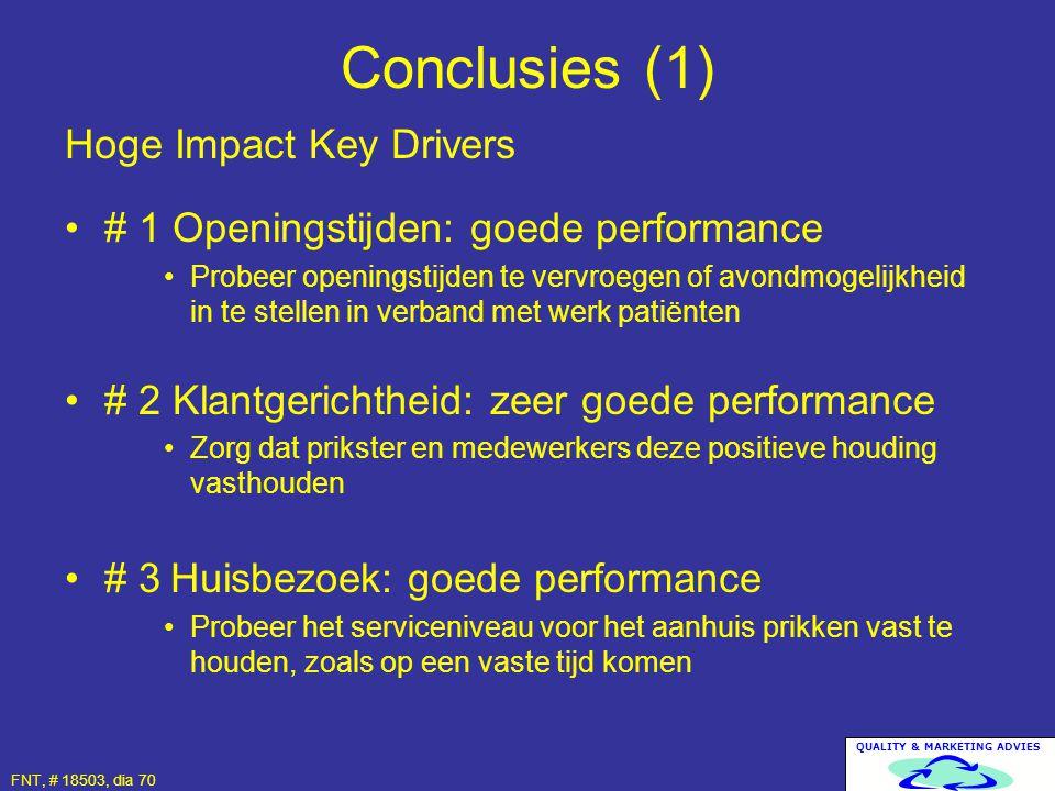 QUALITY & MARKETING ADVIES FNT, # 18503, dia 70 Hoge Impact Key Drivers # 1 Openingstijden: goede performance Probeer openingstijden te vervroegen of