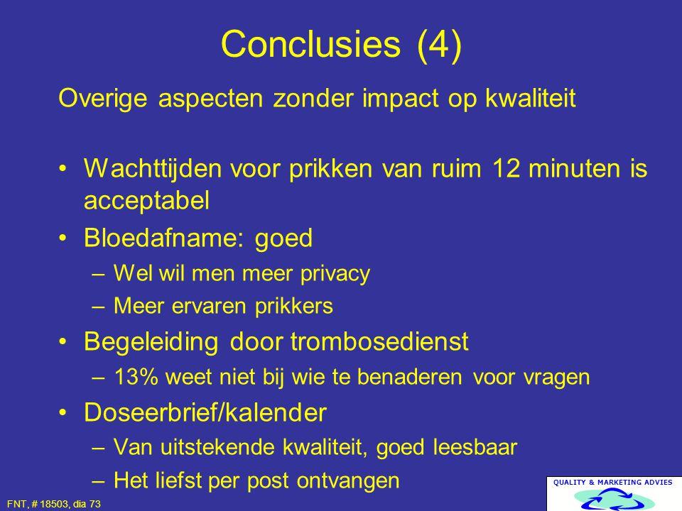 QUALITY & MARKETING ADVIES FNT, # 18503, dia 73 Overige aspecten zonder impact op kwaliteit Wachttijden voor prikken van ruim 12 minuten is acceptabel