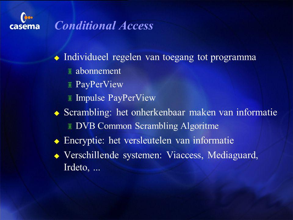 Electronische Programma Gids u Vereenvoudigt keuze uit honderden programma's u Software in de decoder (evt. onder OpenTV), bepaalt 3 presentatievorm 3
