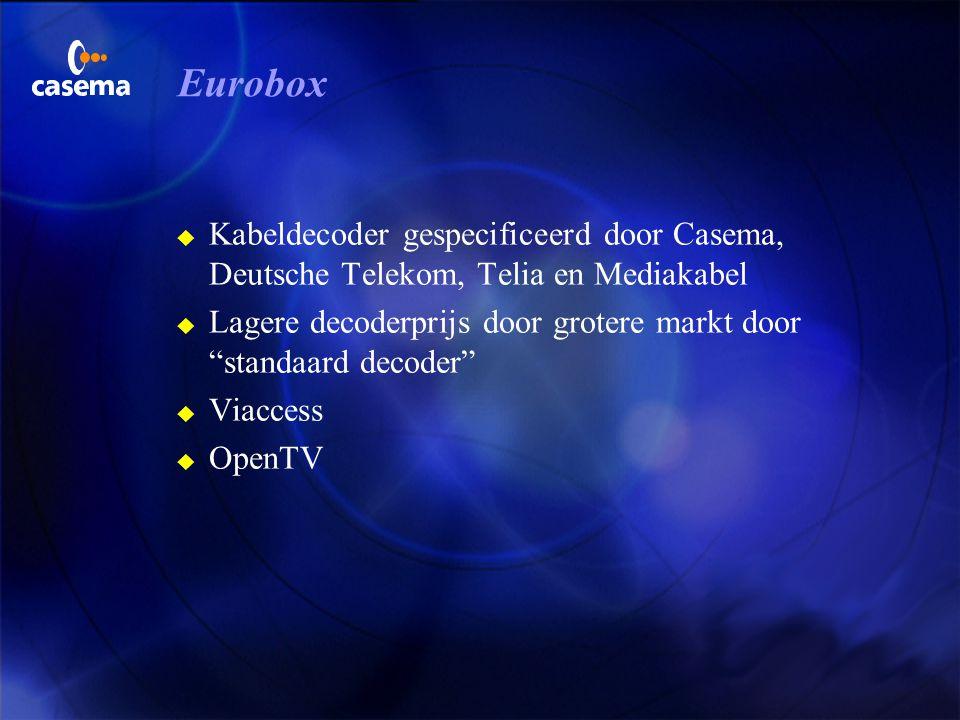 Plannen van Casema u Commerciële start met DVB 1 oktober 1999 u Omzet bestaande PayPerView naar DVB u Uitbreiding aanbod 3 NVOD 3 IPPV(pre-booked) 3 p