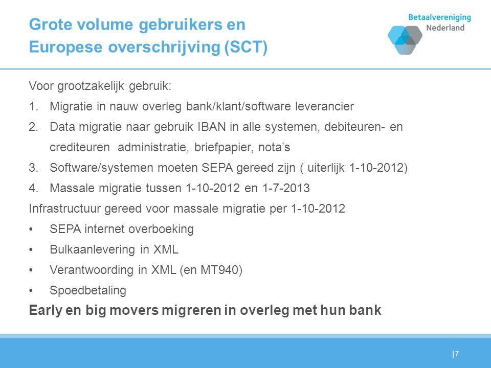 | Grote volume gebruikers en Europese overschrijving (SCT) Voor grootzakelijk gebruik: 1.Migratie in nauw overleg bank/klant/software leverancier 2.Data migratie naar gebruik IBAN in alle systemen, debiteuren- en crediteuren administratie, briefpapier, nota's 3.Software/systemen moeten SEPA gereed zijn ( uiterlijk 1-10-2012) 4.Massale migratie tussen 1-10-2012 en 1-7-2013 Infrastructuur gereed voor massale migratie per 1-10-2012 SEPA internet overboeking Bulkaanlevering in XML Verantwoording in XML (en MT940) Spoedbetaling Early en big movers migreren in overleg met hun bank 7