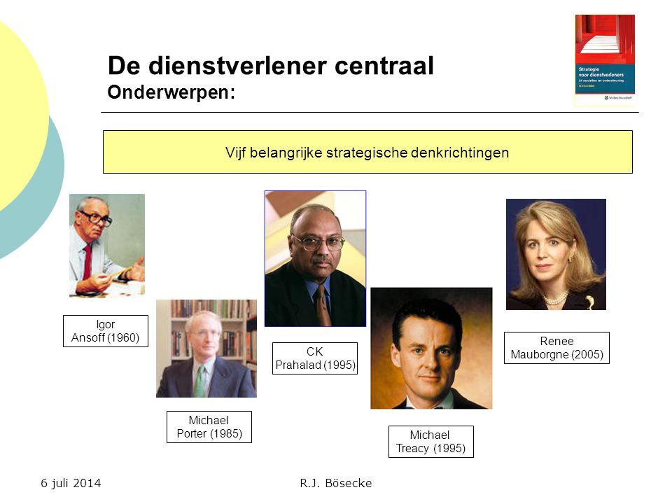 De dienstverlener centraal Onderwerpen: Vijf belangrijke strategische denkrichtingen Igor Ansoff (1960) Michael Porter (1985) CK Prahalad (1995) Micha