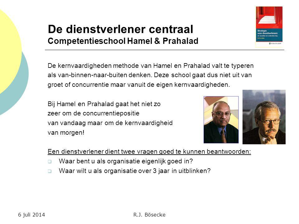 De dienstverlener centraal Competentieschool Hamel & Prahalad De kernvaardigheden methode van Hamel en Prahalad valt te typeren als van-binnen-naar-bu