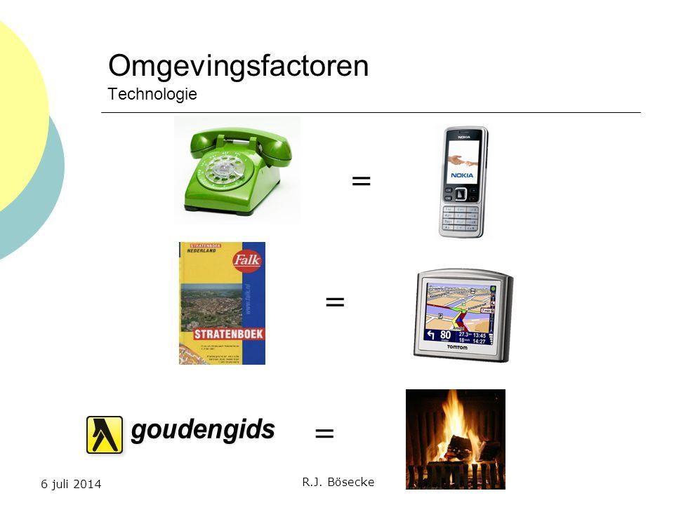 6 juli 2014 R.J. Bösecke Omgevingsfactoren Technologie = = =