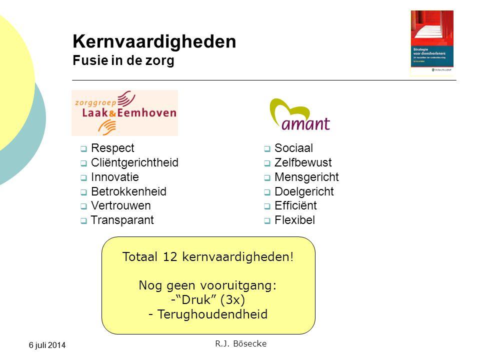 6 juli 2014 Kernvaardigheden Fusie in de zorg 6 juli 2014  Respect  Cliëntgerichtheid  Innovatie  Betrokkenheid  Vertrouwen  Transparant R.J. Bö