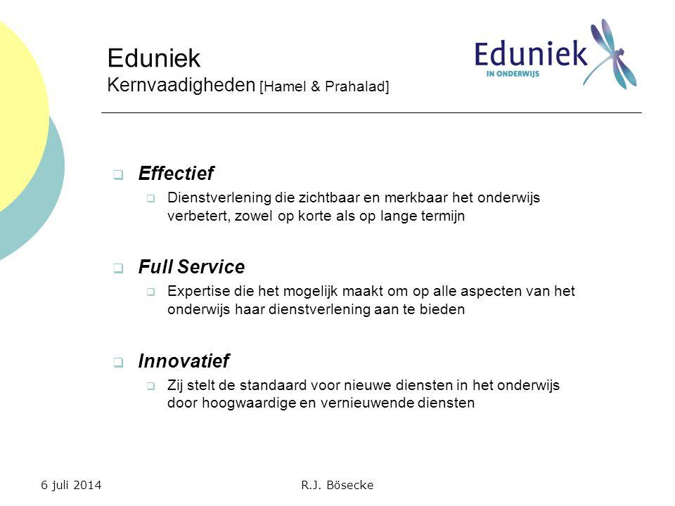  Effectief  Dienstverlening die zichtbaar en merkbaar het onderwijs verbetert, zowel op korte als op lange termijn  Full Service  Expertise die he