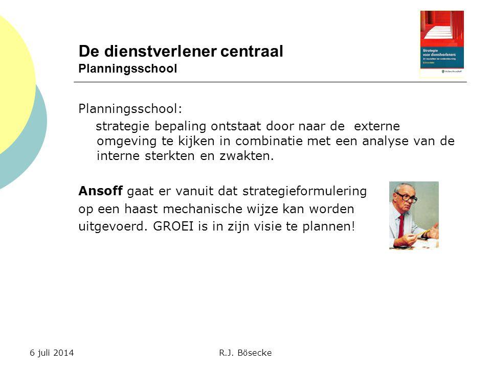 De dienstverlener centraal Planningsschool Planningsschool: strategie bepaling ontstaat door naar de externe omgeving te kijken in combinatie met een