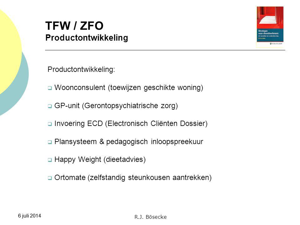 6 juli 2014 TFW / ZFO Productontwikkeling 6 juli 2014 Productontwikkeling:  Woonconsulent (toewijzen geschikte woning)  GP-unit (Gerontopsychiatrisc