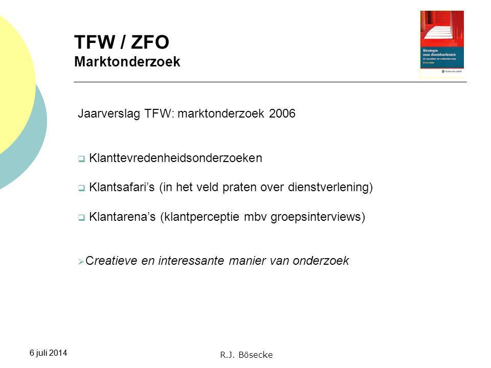 6 juli 2014 TFW / ZFO Marktonderzoek 6 juli 2014 Jaarverslag TFW: marktonderzoek 2006  Klanttevredenheidsonderzoeken  Klantsafari's (in het veld pra