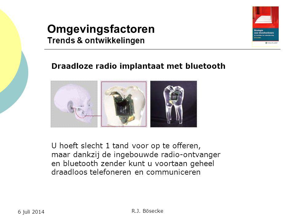 Omgevingsfactoren Trends & ontwikkelingen 6 juli 2014 R.J. Bösecke Draadloze radio implantaat met bluetooth U hoeft slecht 1 tand voor op te offeren,