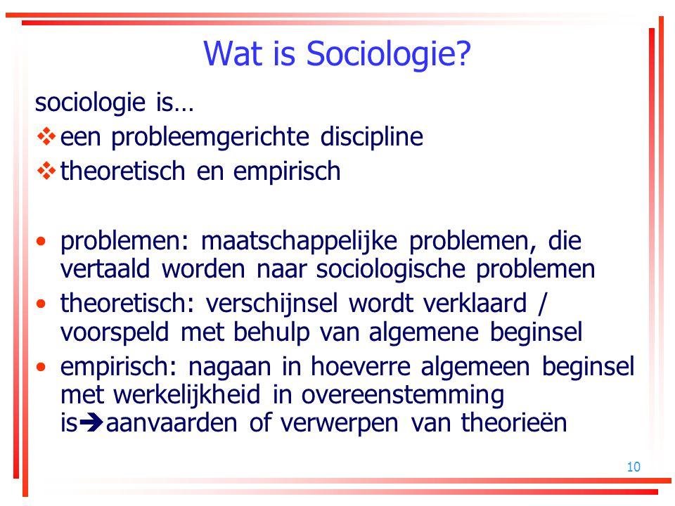 10 Wat is Sociologie? sociologie is…  een probleemgerichte discipline  theoretisch en empirisch problemen: maatschappelijke problemen, die vertaald