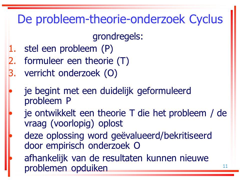 11 De probleem-theorie-onderzoek Cyclus grondregels: 1.stel een probleem (P) 2.formuleer een theorie (T) 3.verricht onderzoek (O) je begint met een du