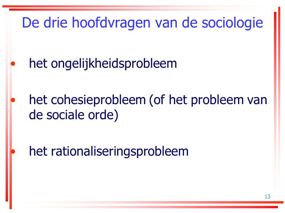 13 De drie hoofdvragen van de sociologie het ongelijkheidsprobleem het cohesieprobleem (of het probleem van de sociale orde) het rationaliseringsprobl