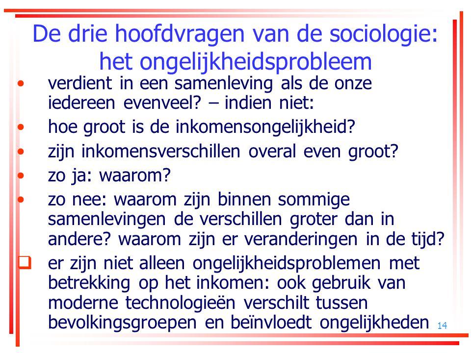 14 De drie hoofdvragen van de sociologie: het ongelijkheidsprobleem verdient in een samenleving als de onze iedereen evenveel? – indien niet: hoe groo