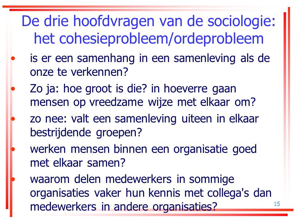 15 De drie hoofdvragen van de sociologie: het cohesieprobleem/ordeprobleem is er een samenhang in een samenleving als de onze te verkennen? Zo ja: hoe