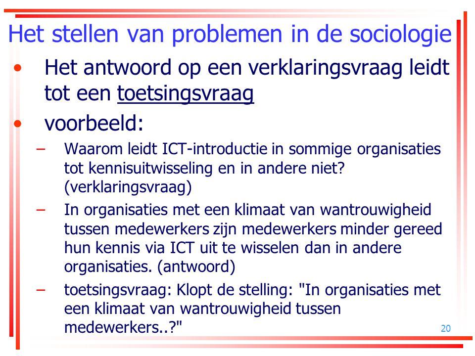 20 Het stellen van problemen in de sociologie Het antwoord op een verklaringsvraag leidt tot een toetsingsvraag voorbeeld: –Waarom leidt ICT-introduct