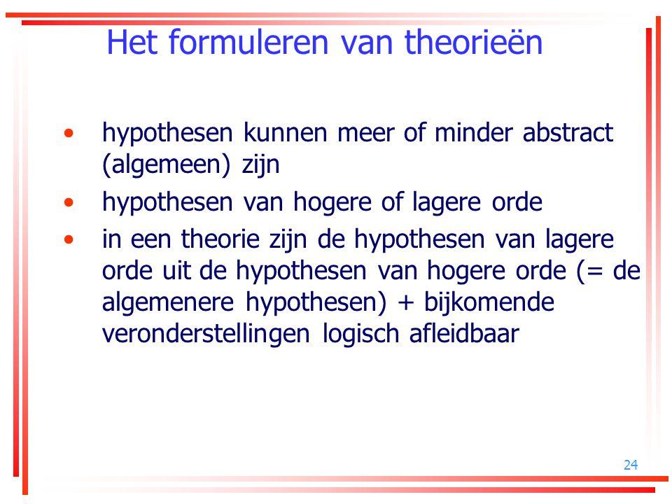 24 Het formuleren van theorieën hypothesen kunnen meer of minder abstract (algemeen) zijn hypothesen van hogere of lagere orde in een theorie zijn de