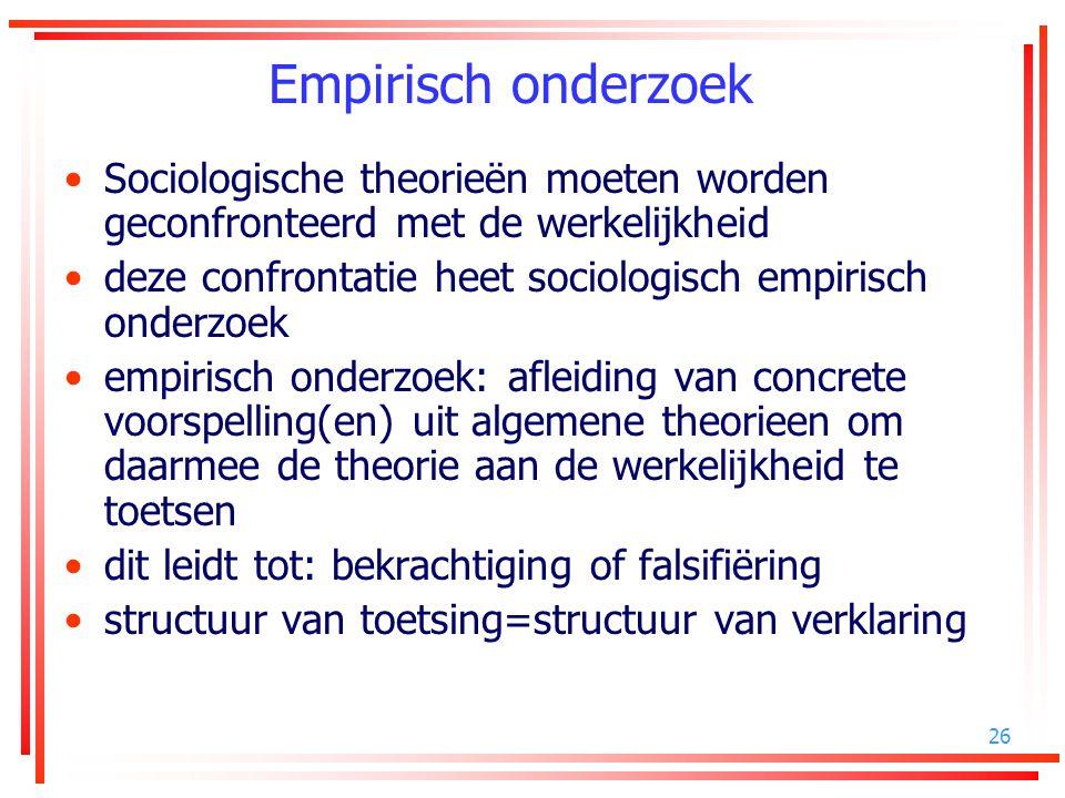 26 Empirisch onderzoek Sociologische theorieën moeten worden geconfronteerd met de werkelijkheid deze confrontatie heet sociologisch empirisch onderzo