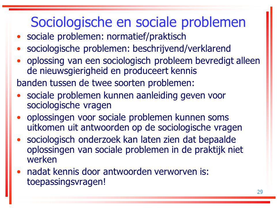 29 Sociologische en sociale problemen sociale problemen: normatief/praktisch sociologische problemen: beschrijvend/verklarend oplossing van een sociol