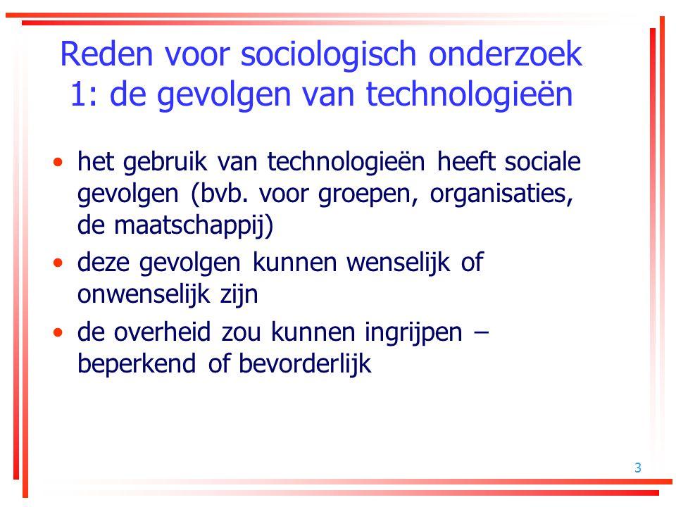 3 Reden voor sociologisch onderzoek 1: de gevolgen van technologieën het gebruik van technologieën heeft sociale gevolgen (bvb. voor groepen, organisa