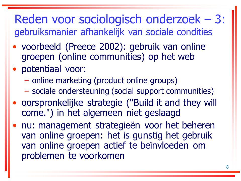 8 Reden voor sociologisch onderzoek – 3: gebruiksmanier afhankelijk van sociale condities voorbeeld (Preece 2002): gebruik van online groepen (online