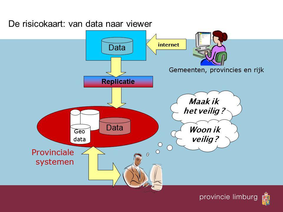  De risicokaart: van data naar viewer Data Replicatie Geo data internet Provinciale systemen Gemeenten, provincies en rijk Maak ik het veilig ? Woon