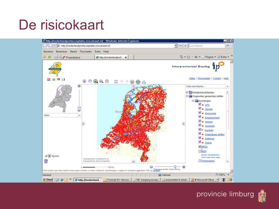 De risicokaart  Kijkt u zelf ook eens op de risicokaart:  www.risicokaart.nl www.risicokaart.nl  www.risicokaart.limburg.nl www.risicokaart.limburg.nl  http://nederland.risicokaart.nl/risicokaart.html?PRV=Noord- Brabant http://zldims.zeeland.nl/flamingomapcomponents/risicokaart _pub.html http://nederland.risicokaart.nl/risicokaart.html?PRV=Noord- Brabant http://zldims.zeeland.nl/flamingomapcomponents/risicokaart _pub.html