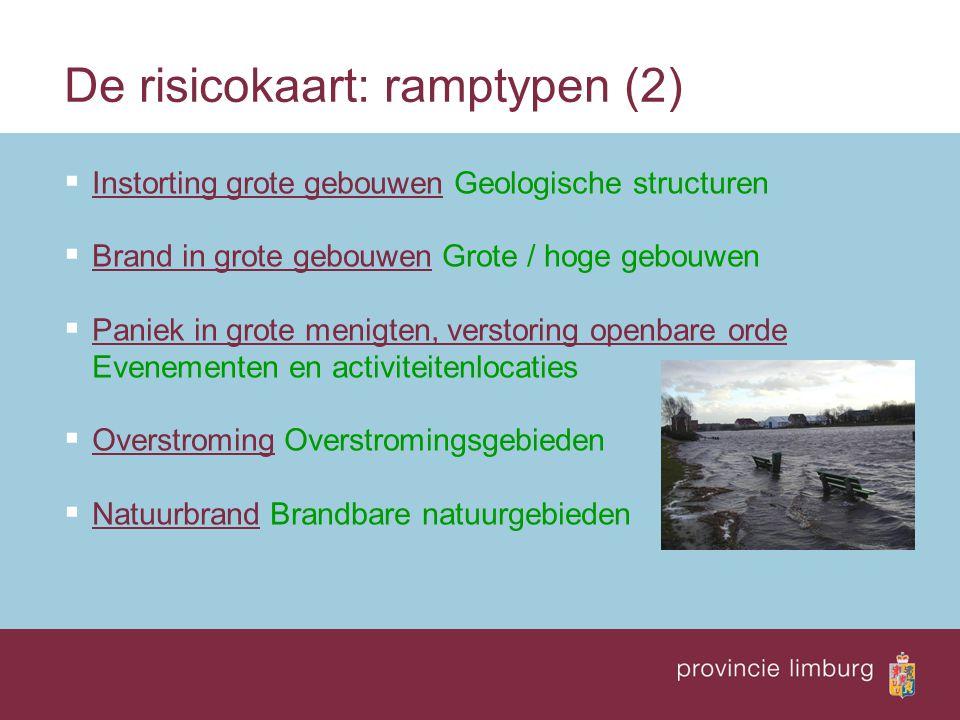 De risicokaart: doel  Informeren van burgers  Welke risico's zijn er in mijn leefomgeving  Beleidsinstrument  milieu  rampenbestrijding  ruimtelijke ordening