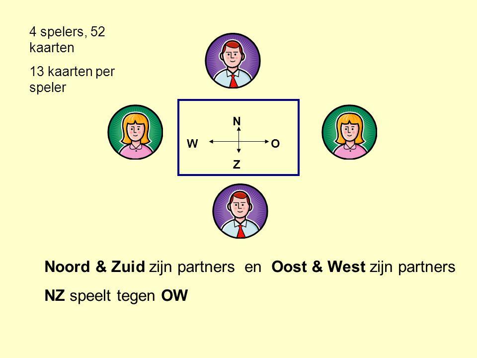 NZNZ W O Noord & Zuid zijn partners en Oost & West zijn partners NZ speelt tegen OW 4 spelers, 52 kaarten 13 kaarten per speler