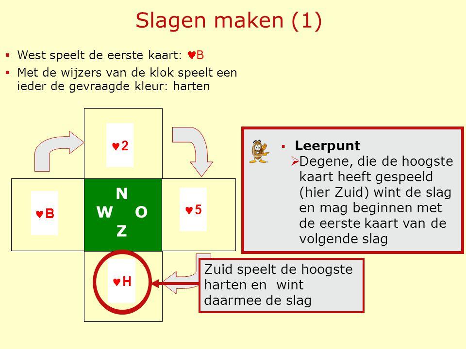  West speelt de eerste kaart: B  Met de wijzers van de klok speelt een ieder de gevraagde kleur: harten B 2 5 H  Leerpunt  Degene, die de hoogste