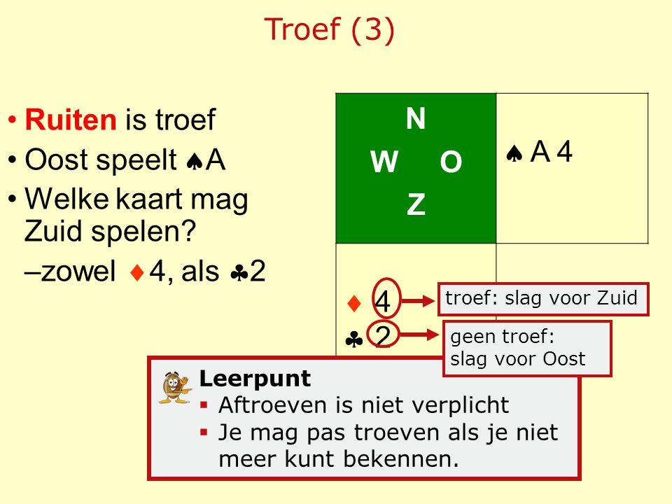 Ruiten is troef Oost speelt  A Welke kaart mag Zuid spelen? –zowel  4, als  2 Troef (3) N W O Z  A 4  4242 Leerpunt  Aftroeven is niet verpli