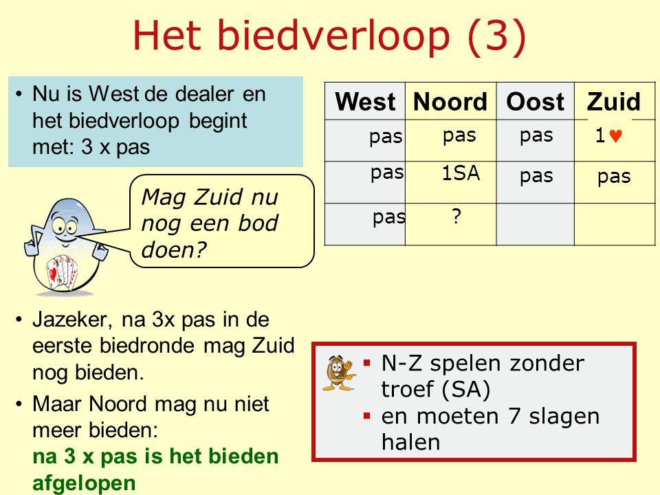 Het biedverloop (3) WestNoordOostZuid Nu is West de dealer en het biedverloop begint met: 3 x pas Jazeker, na 3x pas in de eerste biedronde mag Zuid n