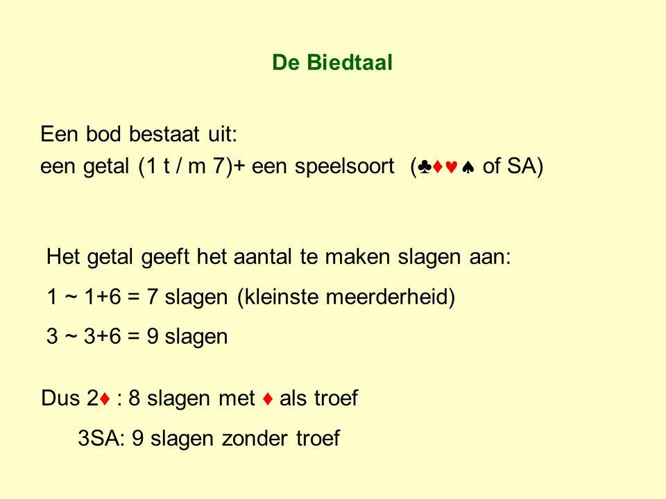 De Biedtaal Een bod bestaat uit: een getal (1 t / m 7)+ een speelsoort (♣♦ of SA) Het getal geeft het aantal te maken slagen aan: 1 ~ 1+6 = 7 slagen