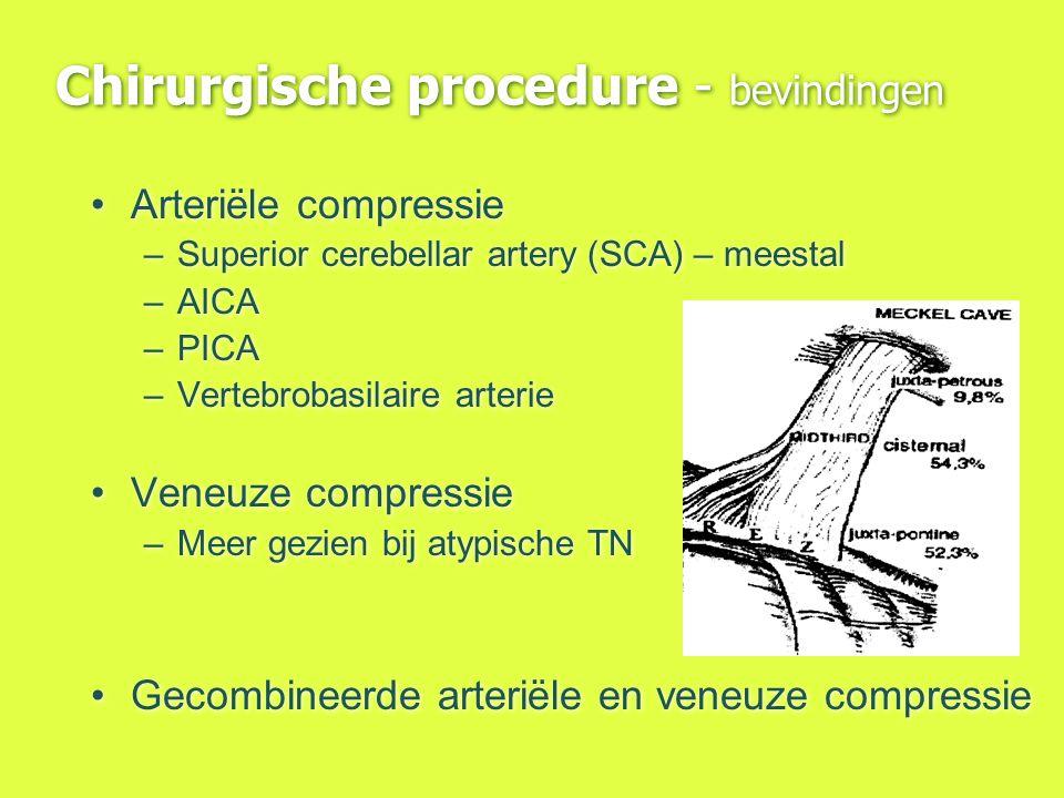 Chirurgische procedure - bevindingen Arteriële compressie –Superior cerebellar artery (SCA) – meestal –AICA –PICA –Vertebrobasilaire arterie Veneuze c