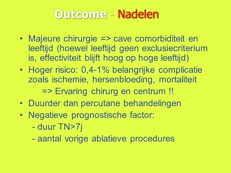 Outcome - Nadelen Majeure chirurgie => cave comorbiditeit en leeftijd (hoewel leeftijd geen exclusiecriterium is, effectiviteit blijft hoog op hoge le