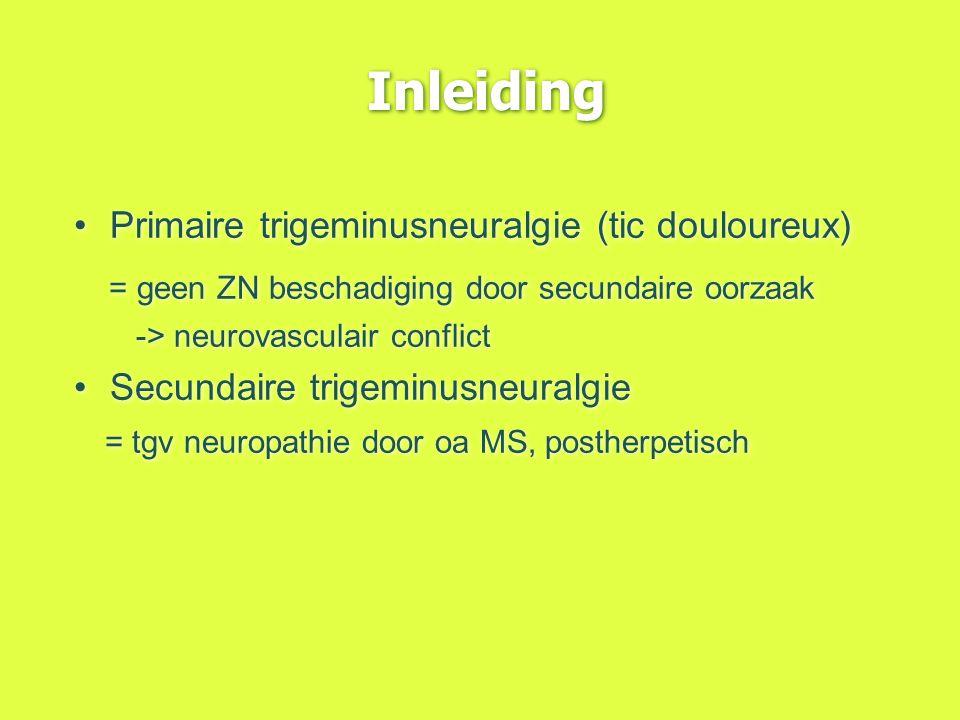 Inleiding Primaire trigeminusneuralgie (tic douloureux) = geen ZN beschadiging door secundaire oorzaak -> neurovasculair conflict Secundaire trigeminu
