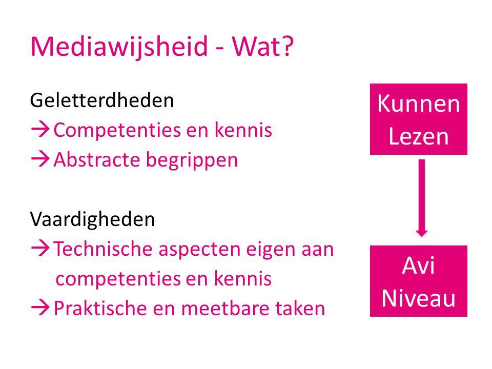 Mediawijsheid - Wat? Geletterdheden  Competenties en kennis  Abstracte begrippen Vaardigheden  Technische aspecten eigen aan competenties en kennis