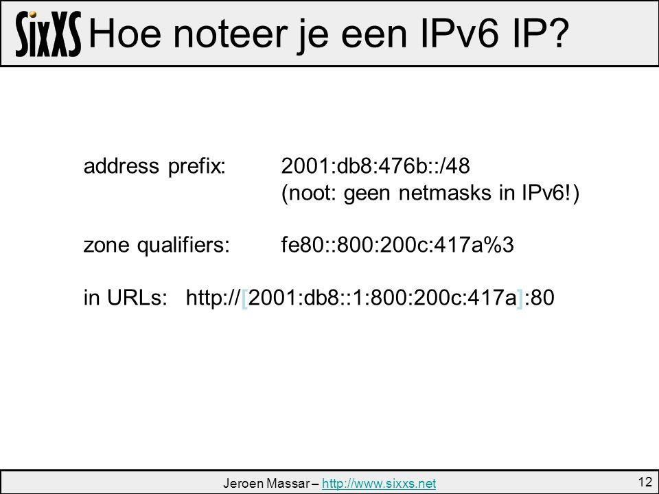 Jeroen Massar – http://www.sixxs.nethttp://www.sixxs.net 12 Hoe noteer je een IPv6 IP.