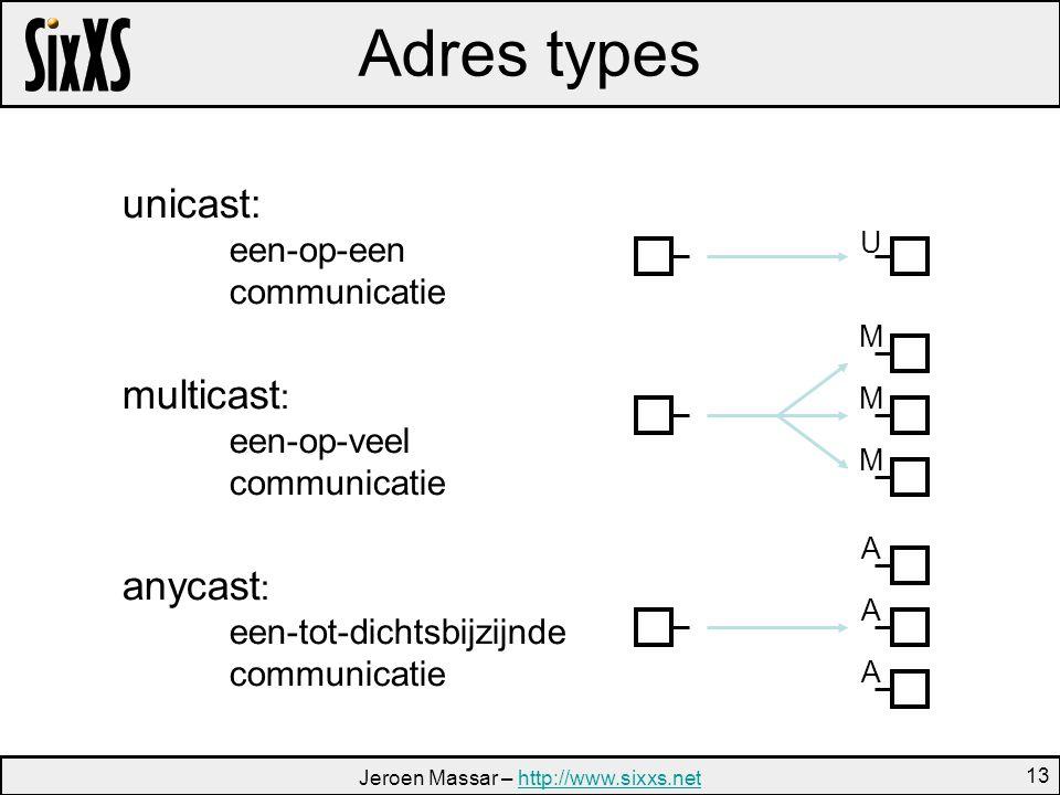 Jeroen Massar – http://www.sixxs.nethttp://www.sixxs.net 13 Adres types unicast: een-op-een communicatie multicast : een-op-veel communicatie anycast : een-tot-dichtsbijzijnde communicatie M M M A A A U